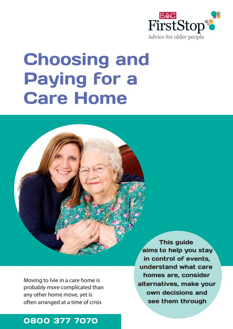 Choosing and paying for a care home