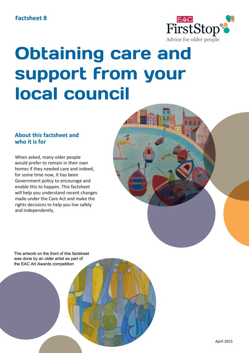 Obtaining care and support from your local council