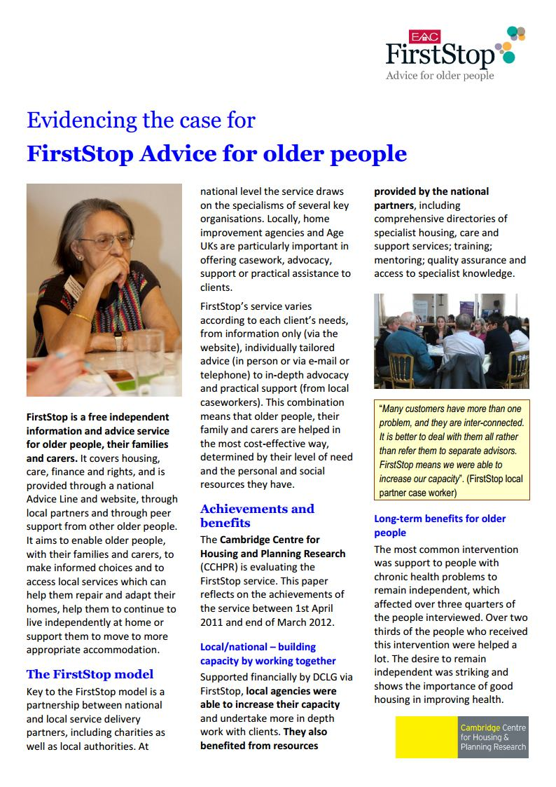 Evidencing the case for FirstStop Advice for Older People